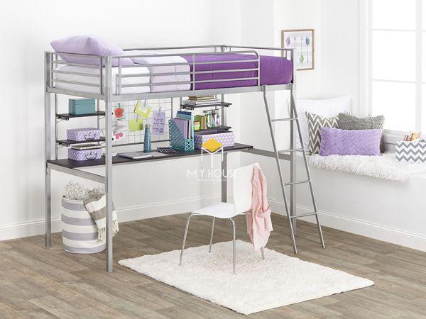 Mẫu giường tầng kết hợp bàn học bằng kim loại