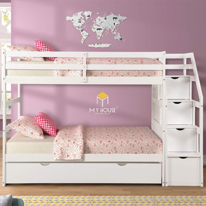 Giường tầng màu hồng cho bé gái trên 10 tuổi