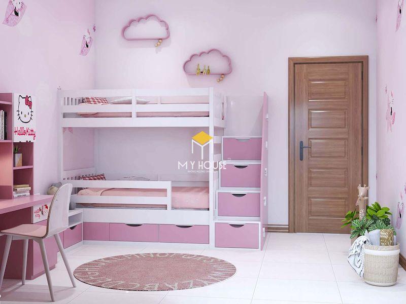 Mẫu giường tầng màu hồng đẹp