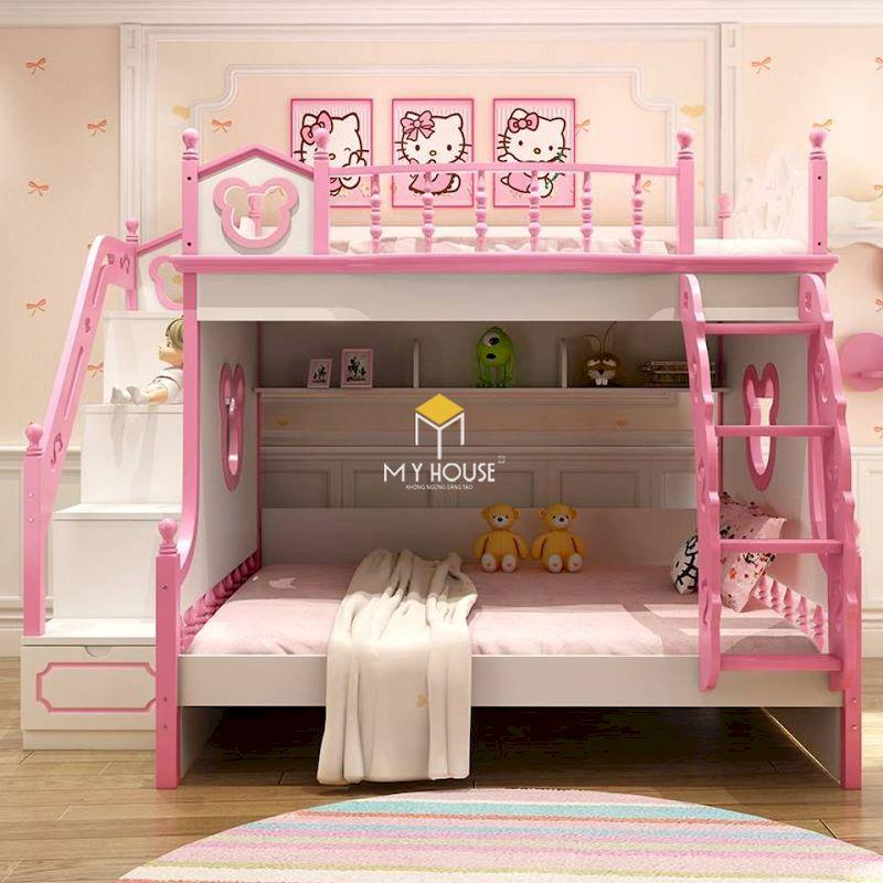 Mẫu giường tầng màu hồng hello kitty