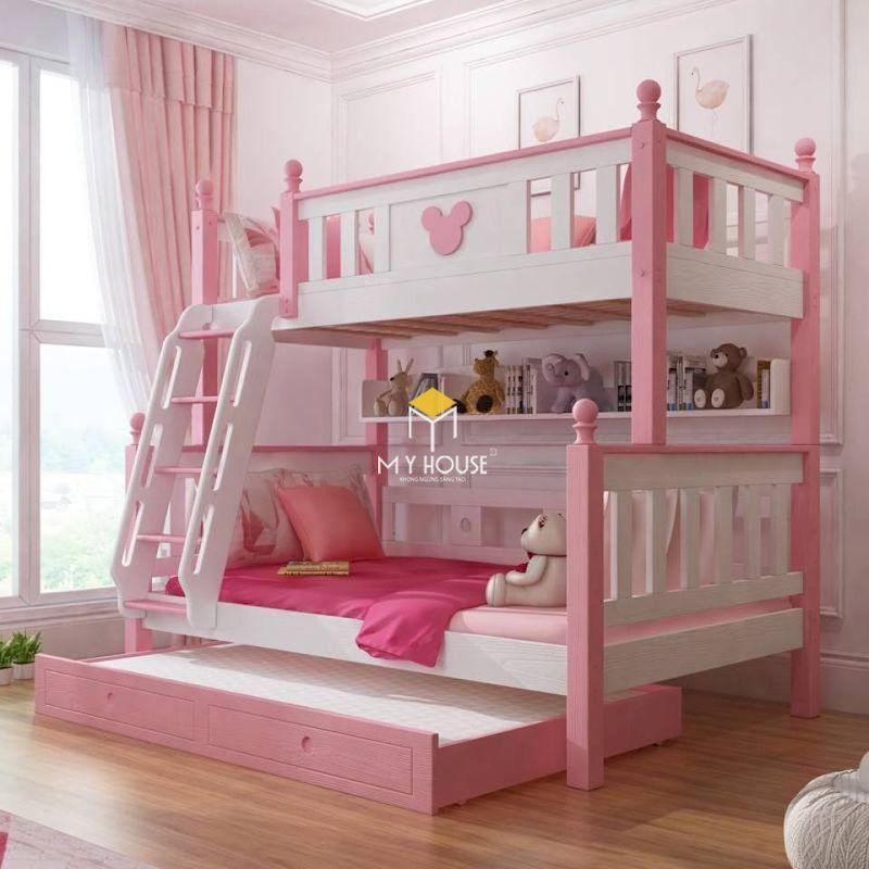 Giường tầng màu hồng cho bé từ 1 - 5 tuổi