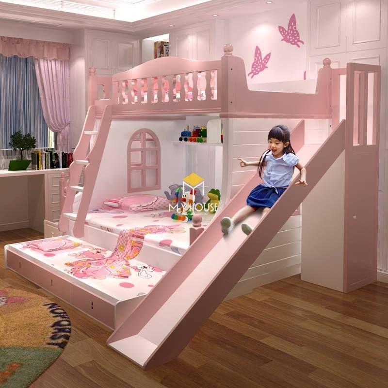 Giường tầng màu hồng gỗ công nghiệp
