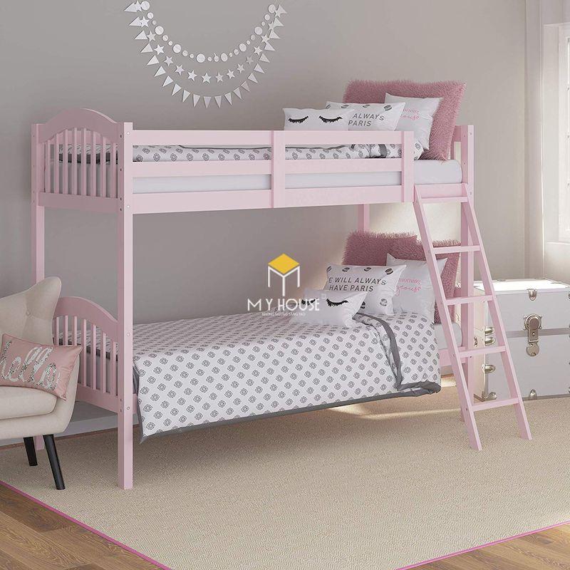 Giường tầng màu hồng gỗ tự nhiên sơn màu hồng