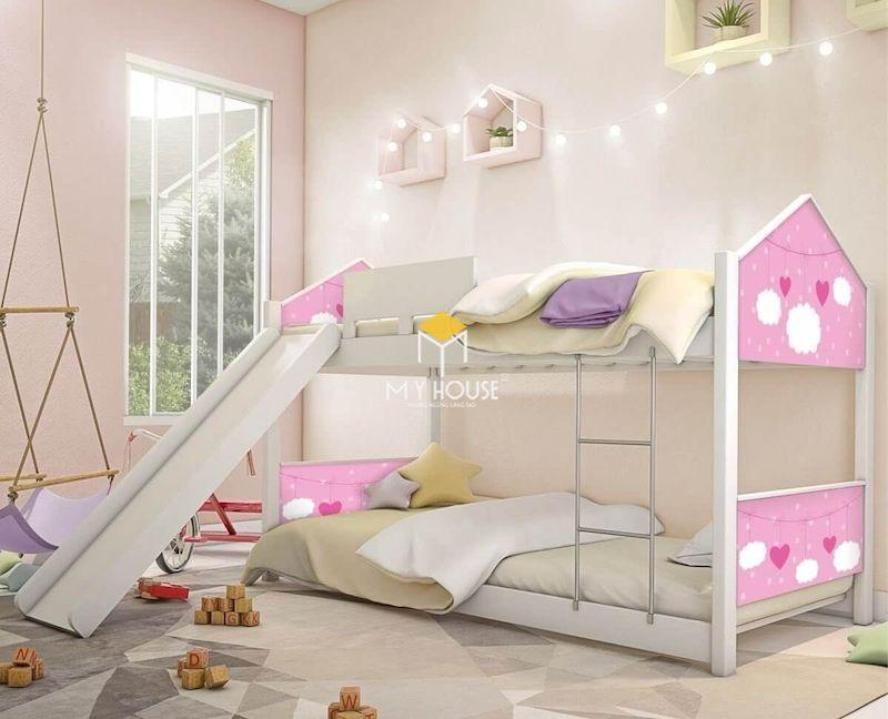 Giường tầng màu hồng cho bé gái từ 6 - 9 tuổi