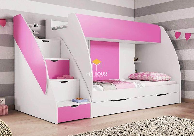 Mẫu giường tầng màu hồng gỗ công nghiệp