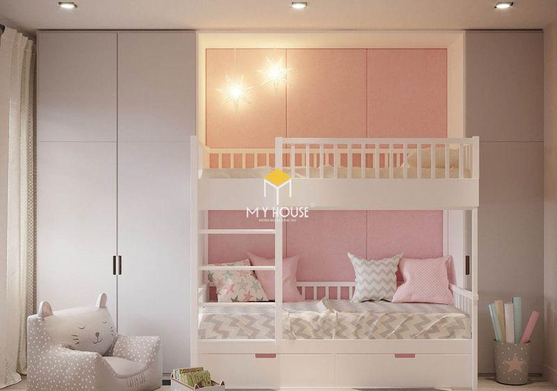 Giường tầng màu hồng gỗ tự nhiên