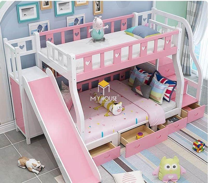Giường tầng màu hồng có cầu trượt cho bé vui chơi