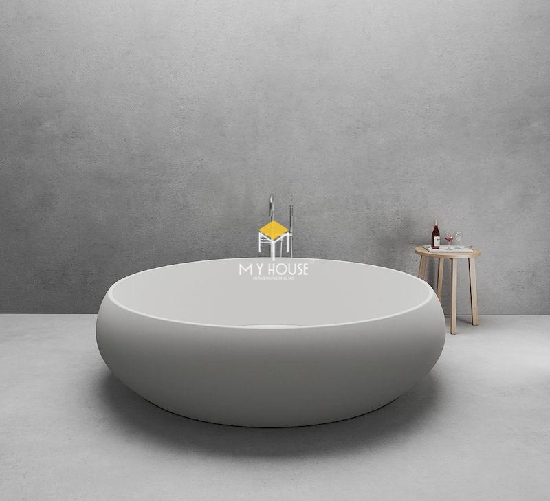 Bồn tắm tròn không chân hiện đại, đơn giản