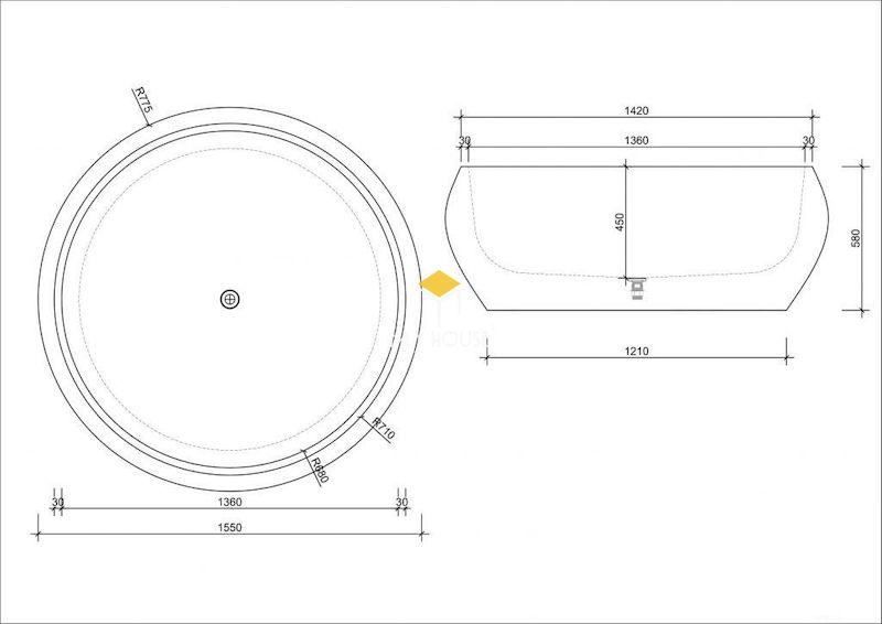 Kích thước Bồn tắm tròn không chân hiện đại, đơn giản