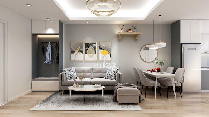 Thiết kế nội thất chung cư 2 ngủ - phòng khách hiện đại