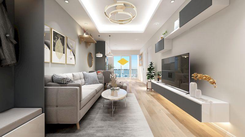 Mẫu thiết kế nội thất căn hộ chung cư 2 ngủ - phòng khách hiện đại