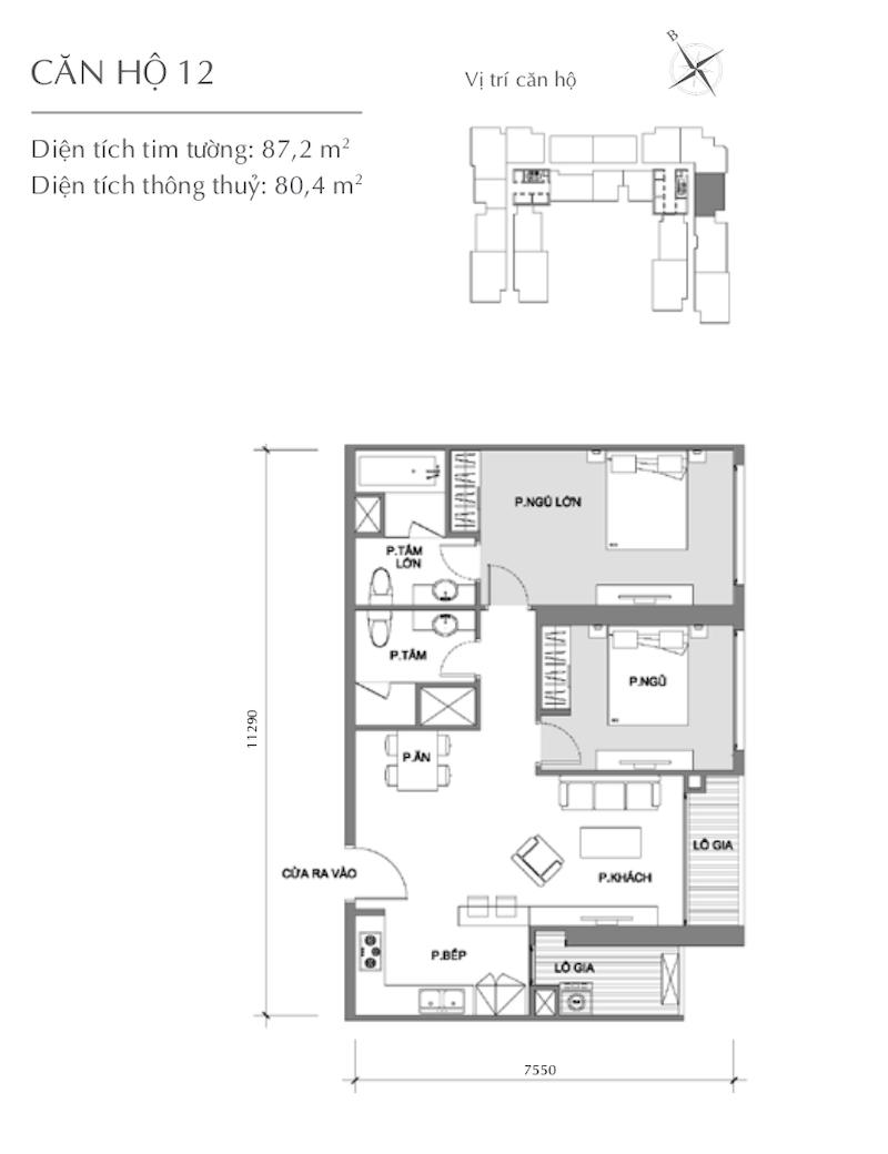 Mặt bằng chung cư - căn hộ 6