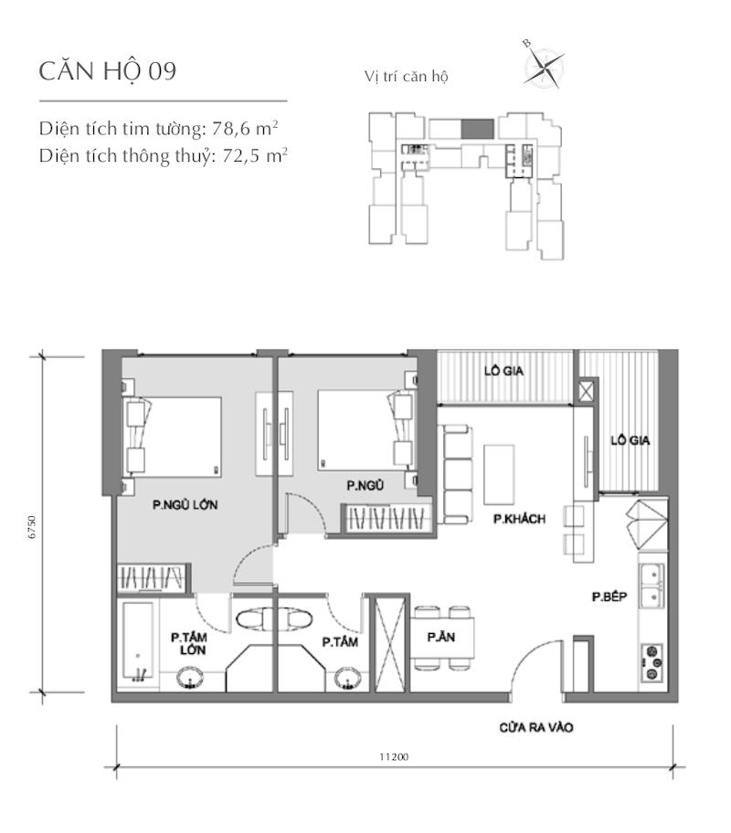 Mặt bằng chung cư - căn hộ 5