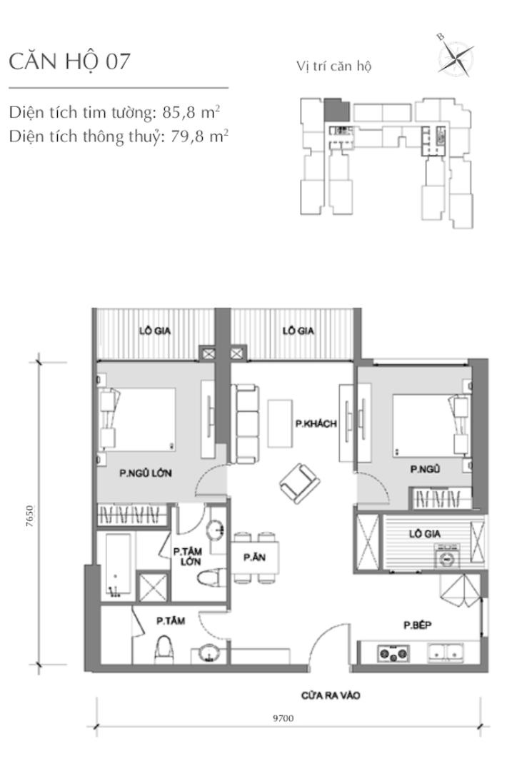 Mặt bằng chung cư - căn hộ 3