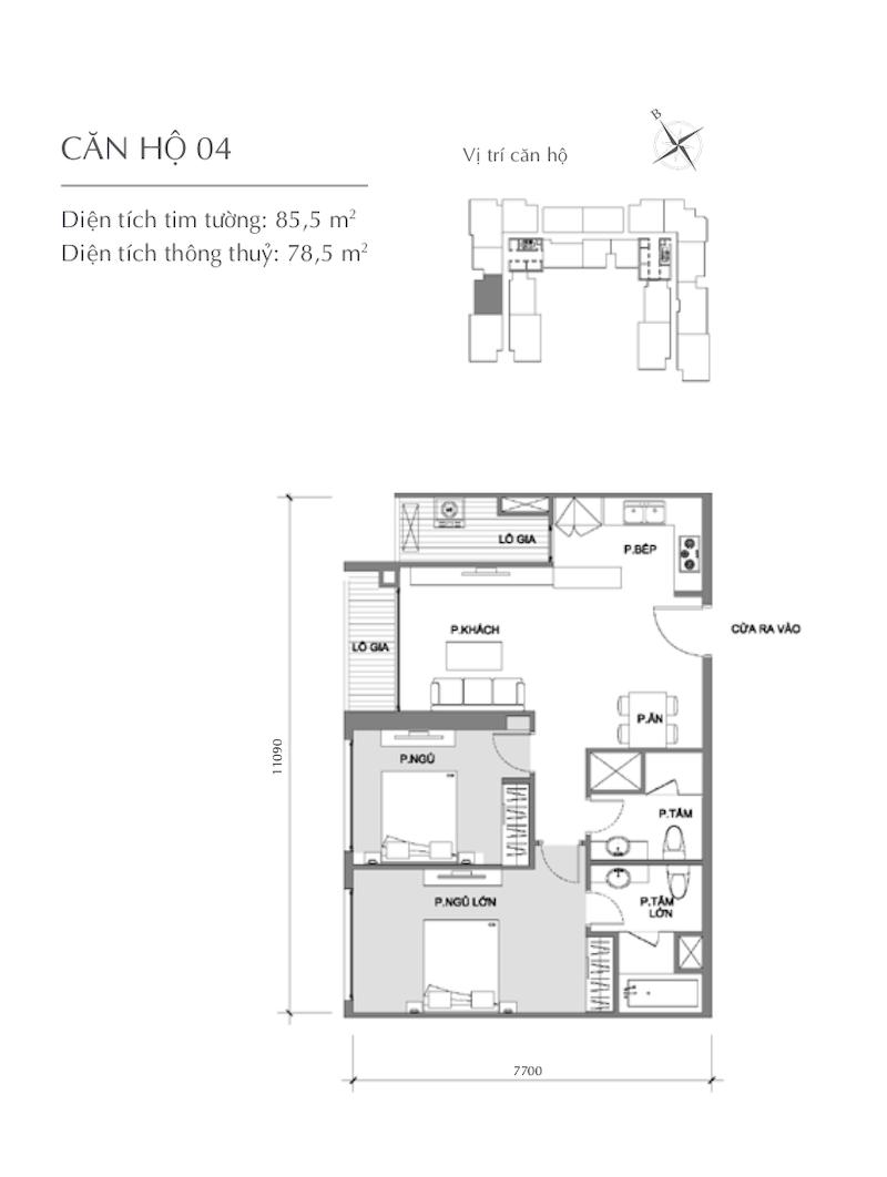 Mặt bằng chung cư - căn hộ 2
