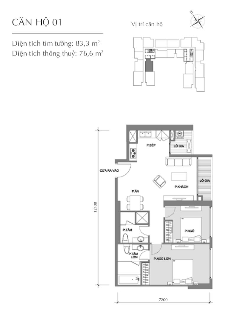 Mặt bằng chung cư - căn hộ 1