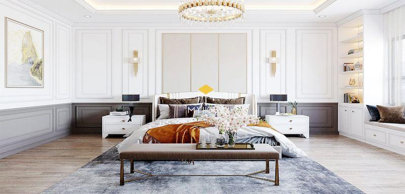 Phòng ngủ master 40m2 phong cách tân cổ điển