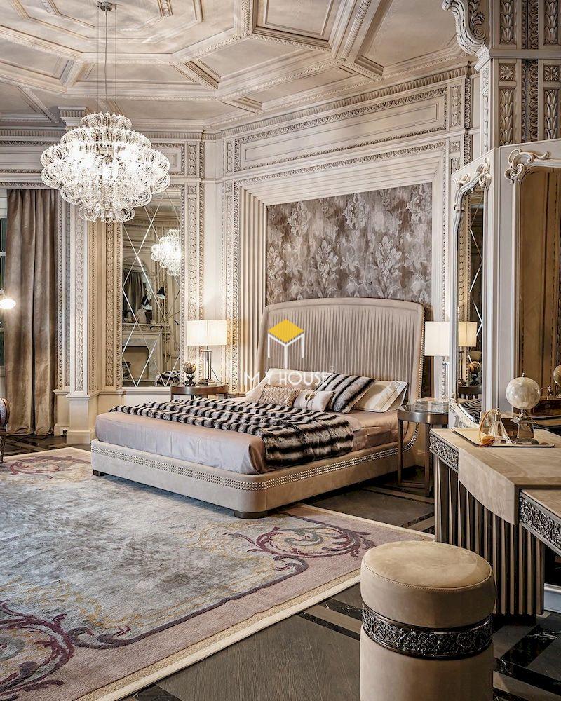 Phòng ngủ master 50m2 phong cách tân cổ điển