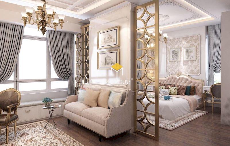 Phòng ngủ master 40m2 với vách ngăn phòng ngủ