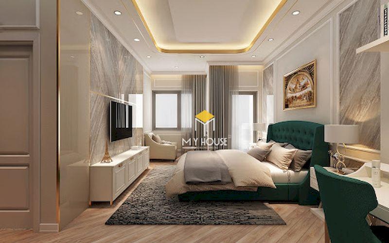 Giường ngủ phòng ngủ master 40m2 tân cổ điển