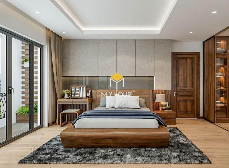 Thiết kế phòng ngủ master gỗ óc chó