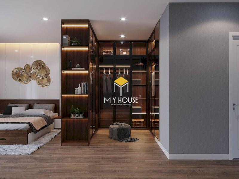 Thiết kế phòng ngủ master rộng với khu vực thay đồ riêng