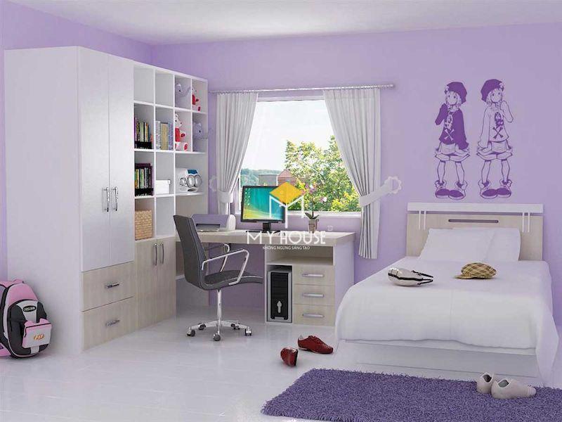 Phòng ngủ màu tím cho bạn nữ