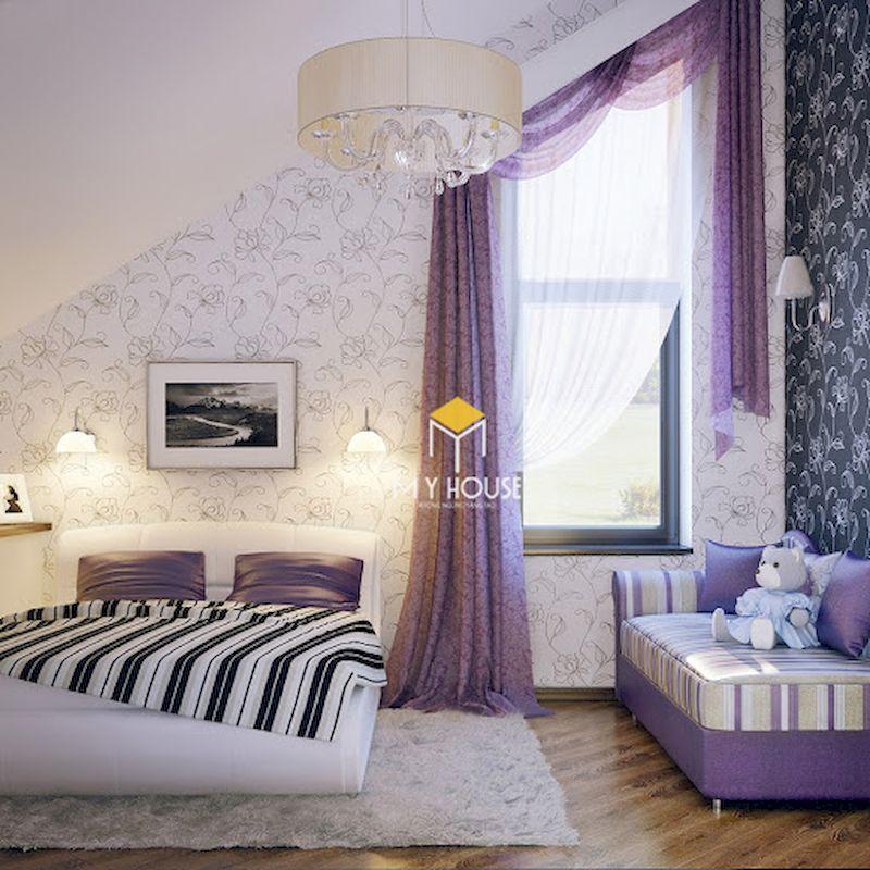 Nội thất màu tím kết hợp giấy sán tường hoa văn màu tím nhạt
