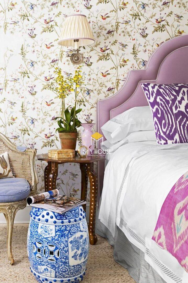 giường ngủ màu tím
