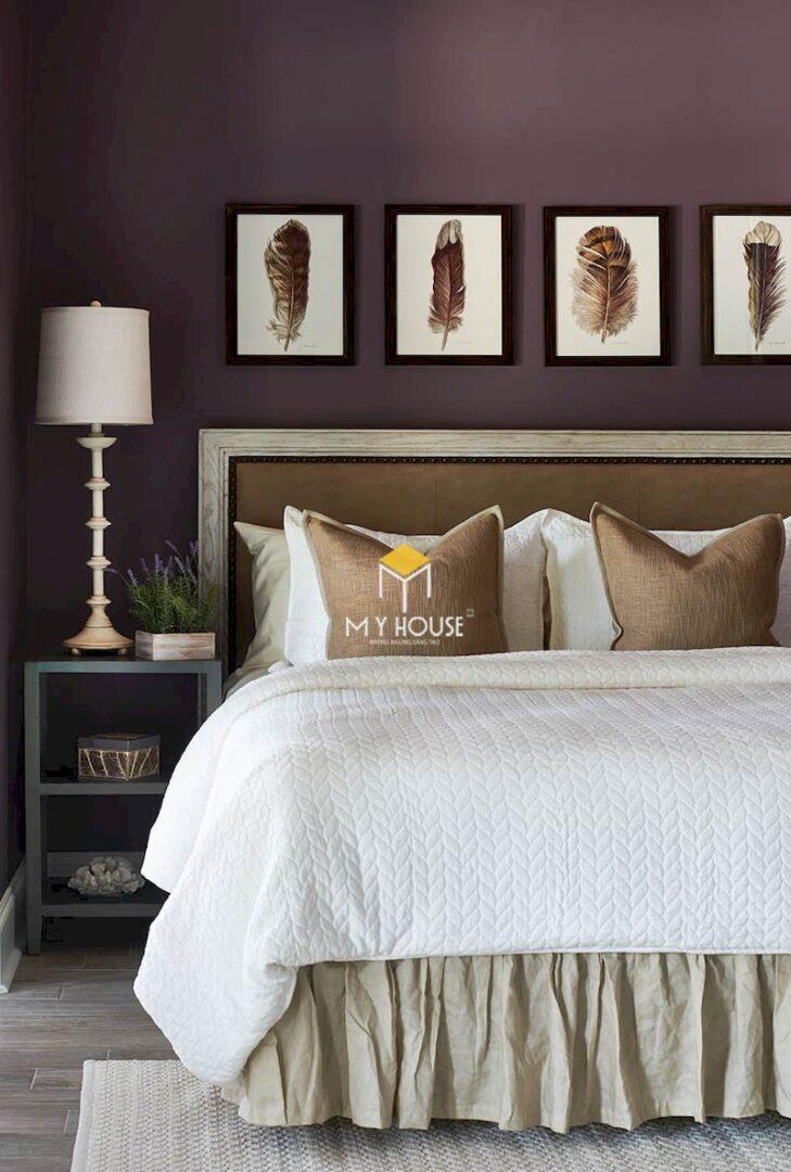 Phòng ngủ màu tím khoai môn - màu trung bình giữa màu tím đậm và tím nhạt