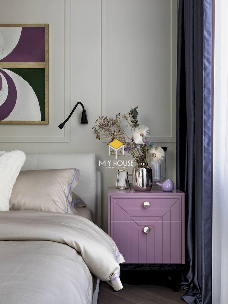 Phòng ngủ màu tím trắng