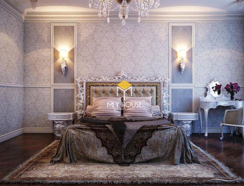 Phòng ngủ tân cổ điển màu tím nhạt