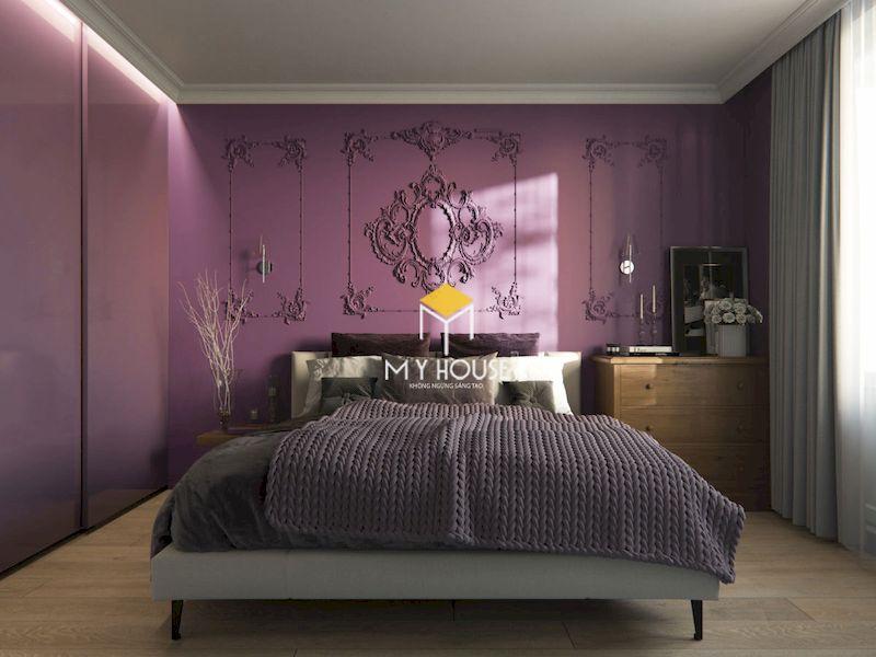 Phòng ngủ màu tím cho người lớn tân cổ điển