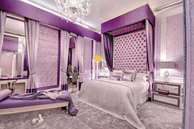 Thiết kế nội thất phòng ngủ tân cổ điển màu tím