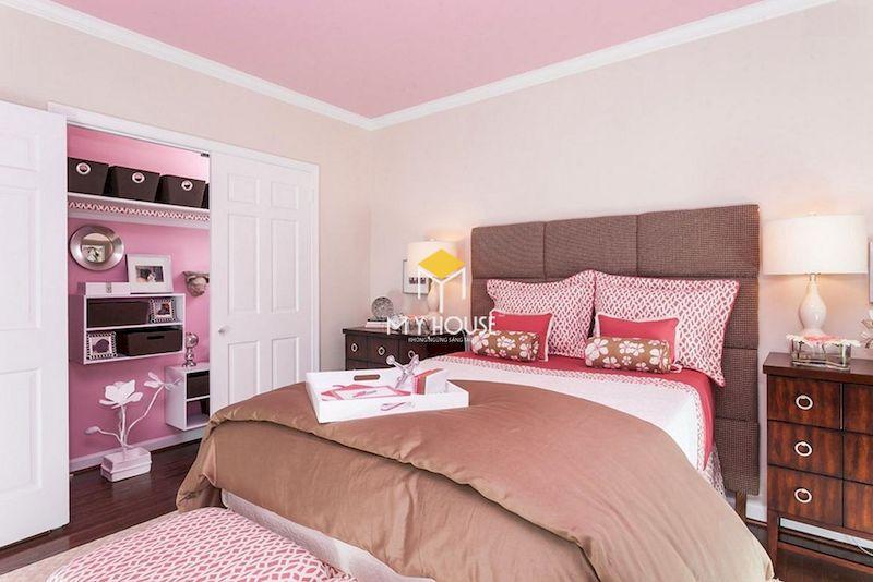 Nội thất phòng ngủ màu tím hồng cho bạn nữ