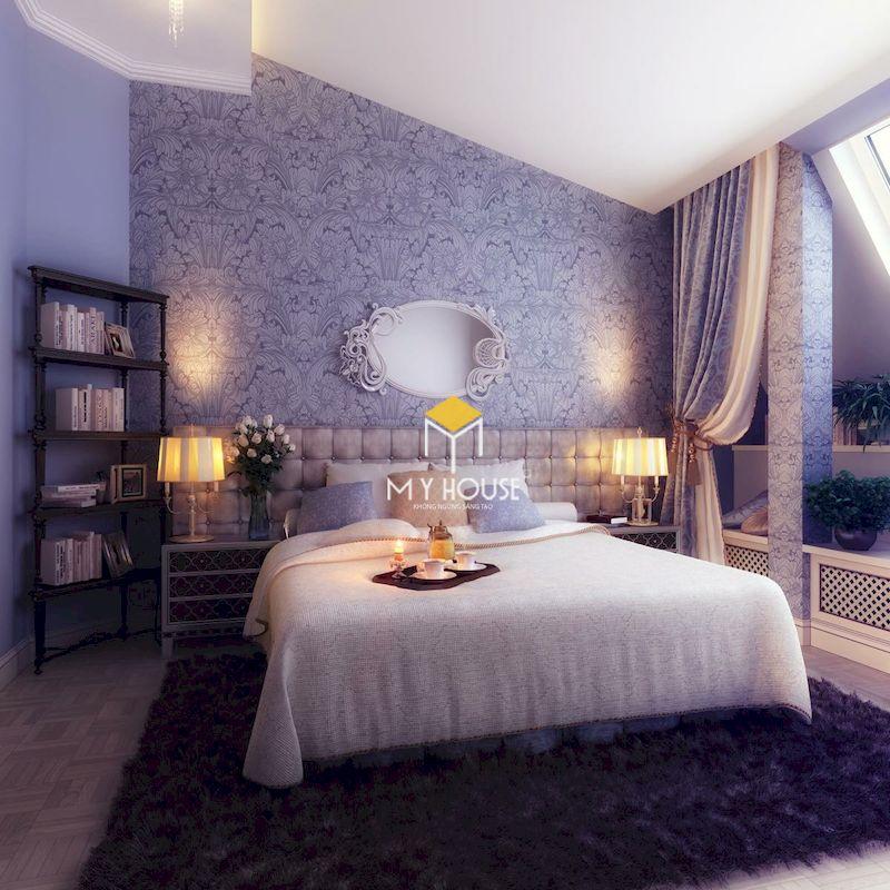 Thiết kế phòng ngủ hiện đại màu tím sang trọng