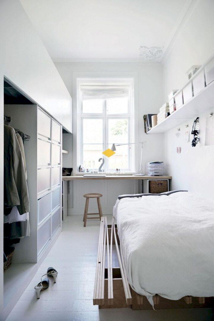 Phòng ngủ màu trắng phù hợp với mọi diện tích phòng ngủ