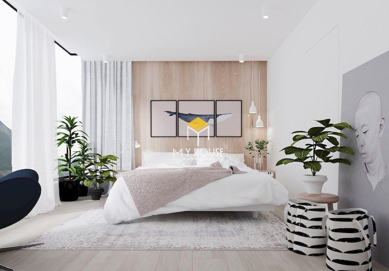 Tạo điểm nhấn cho phòng ngủ bằng cây xanh, tranh treo tường