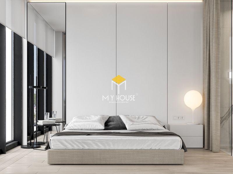 Thiết kế phòng ngủ màu trắng chất liệu gỗ công nghiệp