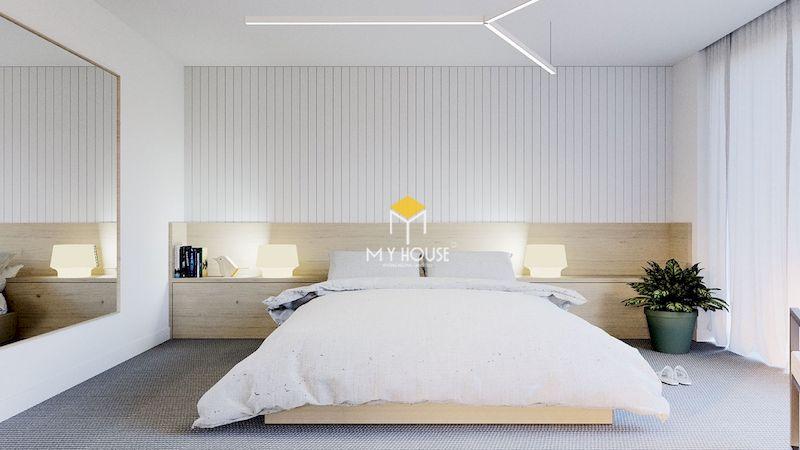 Thiết kế phòng ngủ màu trắng chất liệu gỗ tự nhiên