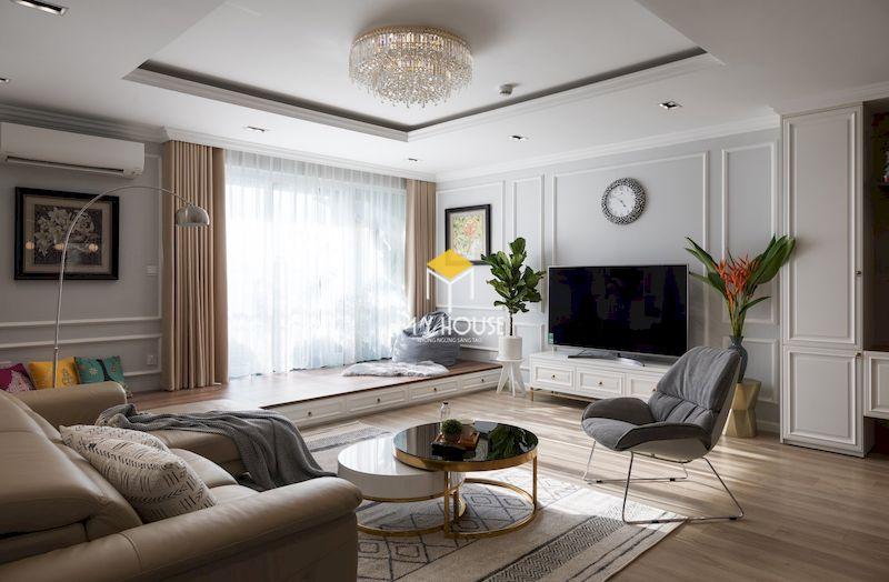 Thiết kế phòng sinh hoạt chung đẹp - sử dụng màu trung tính, tươi sáng