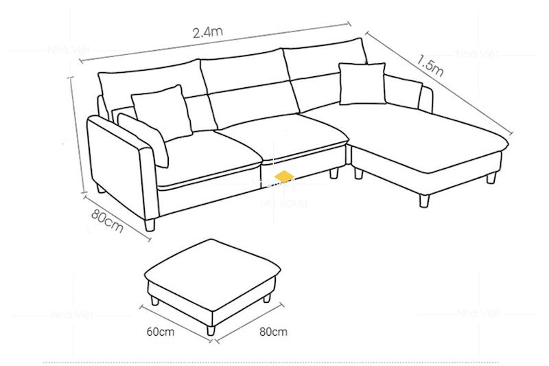 Kích thước phổ biến của sofa nỉ chữ L