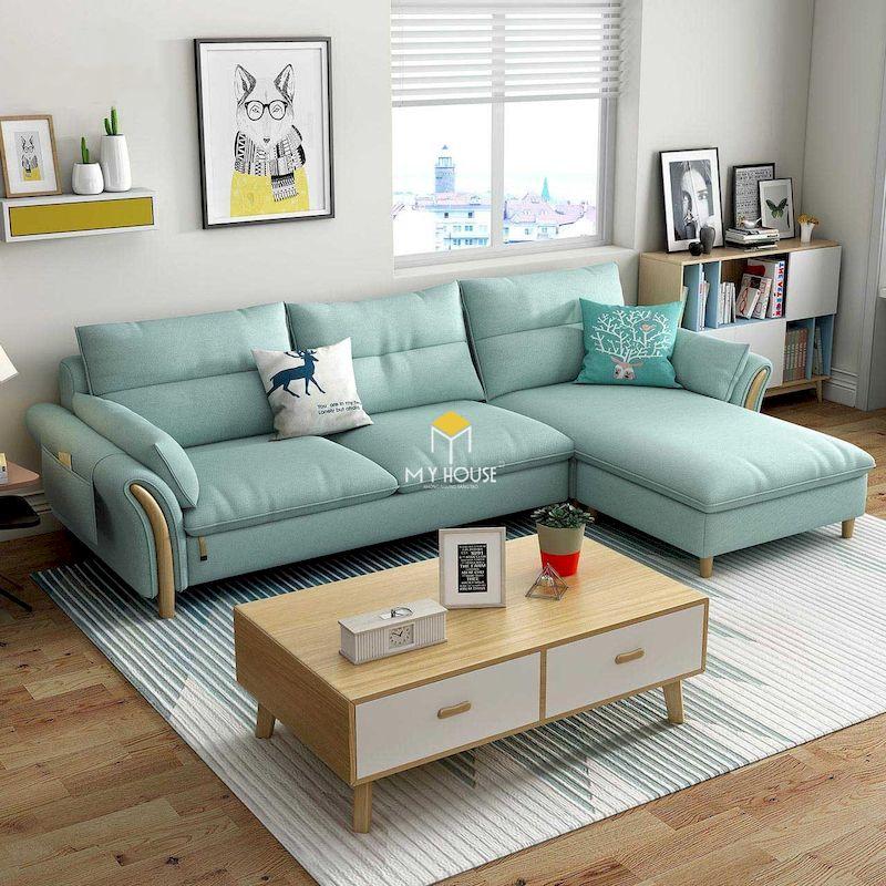 Thiết kế phòng khách chung cư nhỏ với sofa chữ L