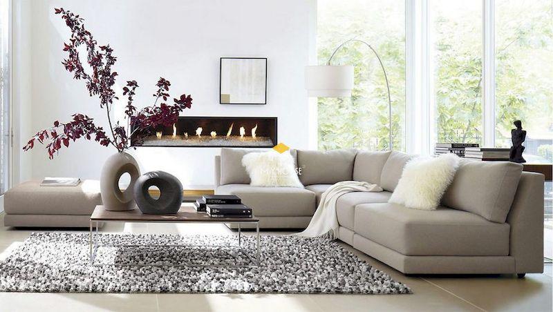 Thiết kế phòng khách với sofa chữ L