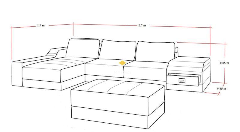 Kích thước sofa dài 2.7m