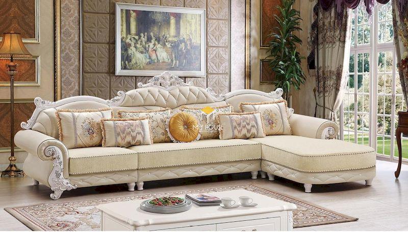 Mẫu sofa tân cổ điển chữ L sang trọng
