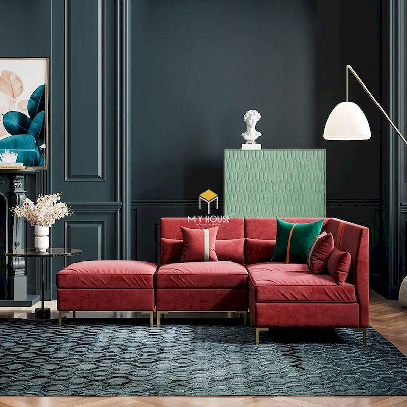 Thiết kế phòng khách tân cổ điển với sofa màu đỏ nổi bật