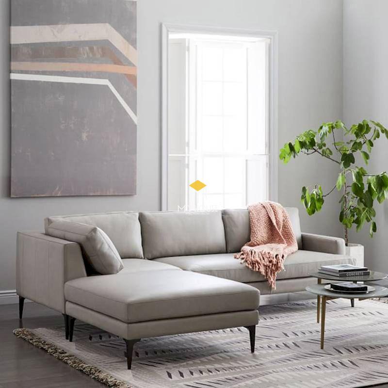 Mẫu sofa nỉ chữ L thiết kế đơn giản, hiện đại cho nhà đẹp