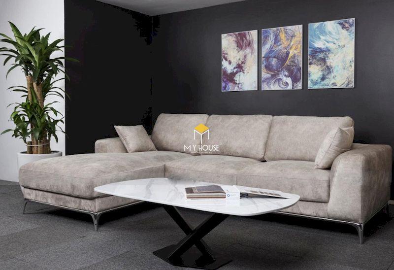 Sofa nỉ chữ L chân inox