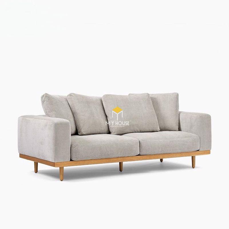 Mẫu sofa văng nỉ hồng khung gỗ